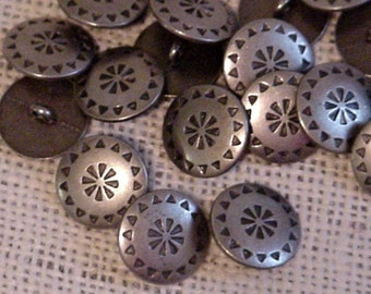 Pewter Shank Buttons, Vintage Antiqued Silver Look Gray Metal Buttons, Southwest Western Tribal Embellishments itsyourcountry