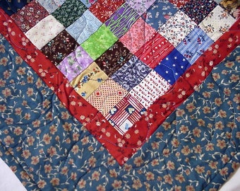 Patchwork Scrap Quilt, Original Calico Wall Hanging, Baby Quilt, Table Runner Topper Home Decor, OOAK Art Quilt itsyourcountry