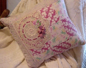 Cottage Porch Pillow, Shabby Vintage Patchwork Quilt Doily 16 x 16 Original Handmade Home Decor Throw Pillow, Accent Pillow itsyourcountry