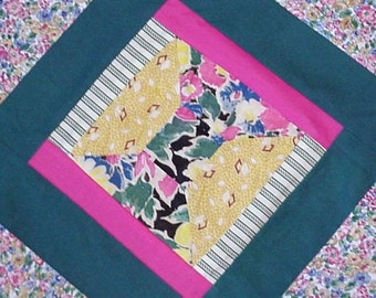 Spool Quilt Block, Repurposed Vintage Feedsack 17 inch Quilt Block, Cottage Chic Folk Art Piece of the Past Prim Craft Supply itsyourcountry
