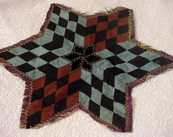 Antique Star Quilt Block, Silk Velvet Patchwork Shabby Tattered Star, Country Farmhouse Rustic Elegant Home Decor Collectible itsyourcountry