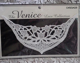 Venice Lace Applique, Vintage White Sewing Sew On Wedding Dress Neckline with Rhinestone Embellishment by Carolace itsyourcountry
