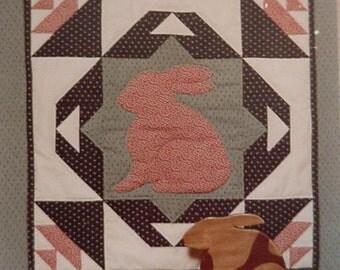 Country Bunny Pattern Vintage Prim Folk Art  Rabbit Applique Patchwork Quilt Craft Pattern Original Uncut itsyourcountry