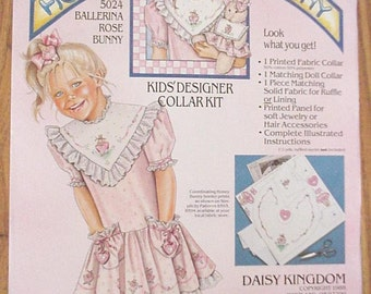 Daisy Kingdom Honey Bunny Fabric Collar Kit, Vintage Girls and Doll Designer DIY Collar, Ballerina Rose Bunny 5024 itsyourcountry