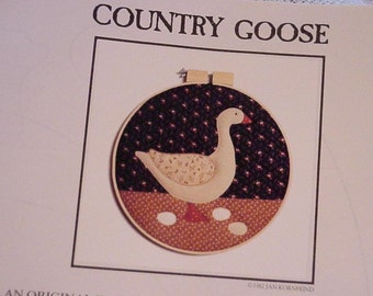 Goose Applique Pattern Country Appliques Hand or Machine Craft Pattern VIntage Uncut Hoop Art  Wall Hanging Original Uncut itsyourcountry