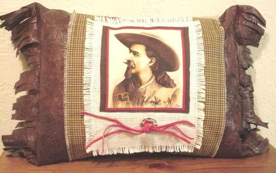 Western Cowboy Pillow, Faux Leather Buffalo Bill Cody Decorative Throw Pillow with Concho, Home Decor itsyourcountry