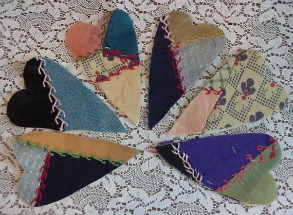 Crazy Quilt Heart Appliques Primitive Hand Embroidered Silk Cutter Quilt Embellishments Upcycled for Crafting itsyourcountry