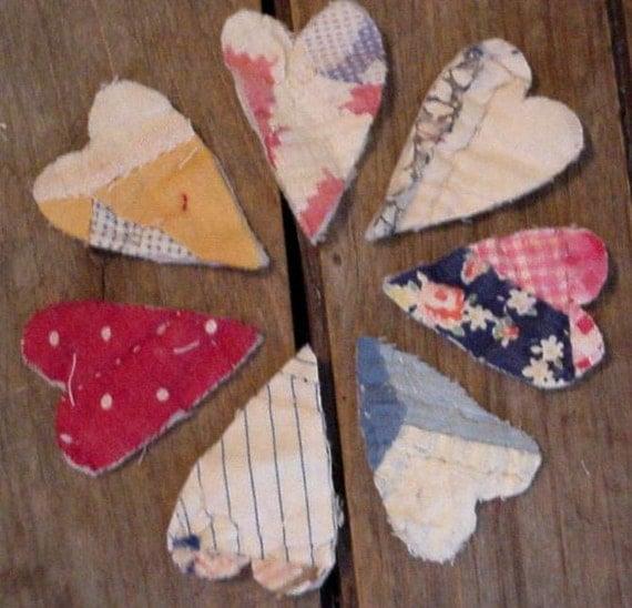 Primitive Heart Appliques Prim Folk Art Cutter Quilt Feedsack Shabby Embellishments itsyourcountry