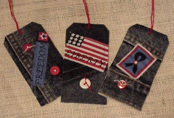 Denim Gift Tags Patriotic Americana Blue Jean Fabric Hang Tags Bookmark itsyourcountry