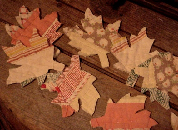 Fall Leaf  Appliques Vintage Quilted Prim Autumn Leaves Feedsack Cutter Quilt Shabby Embellishments