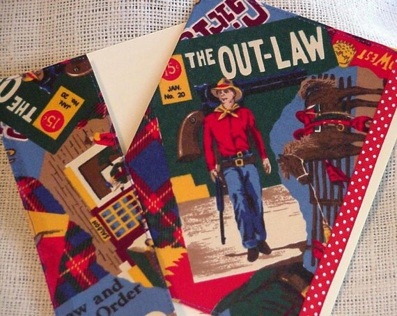 Western Fabric Card Outlaw in Town Cowboy Everyday All Occasion Blank Greeting Note Card Stationery itsyourcountry