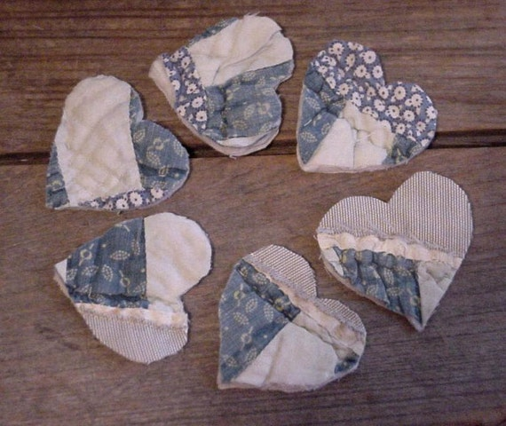 Vintage Patchwork Hearts Prim Blue Heart Appliques Upcycled Cutter Quilt Cottage Prairie Homespun Embellishments itsyourcountry
