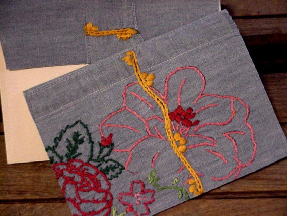 Hibiscus Greeting Card Chambray Floral  Everyday Note Card Vintage Upcycled Fabric Stationery itsyourcountry