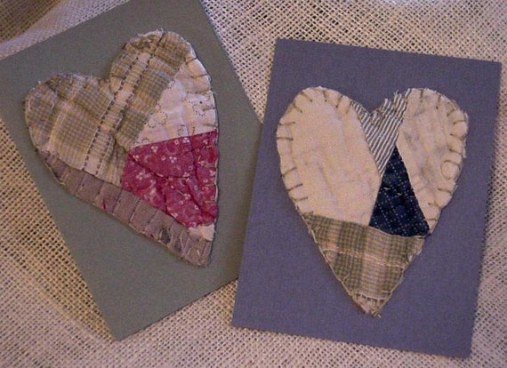 Feedsack Heart Cards Vintage Cutter Quilt Everyday Greeting Blank Note Card Primitive Upcycled Stationery itsyourcountry