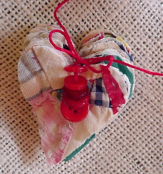 Quilted Heart Appliques DIY Heart Craft Stack Kit Primitive Cutter Quilt Embellishments Vintage Feedsack Quilt Cardmaking itsyourcountry