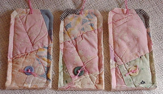 Feedsack Gift Tags Prim Shabby Patchwork Cutter Quilt  Hang Tags Pink Wedding Baby Shower Tie Ons itsyourcountry