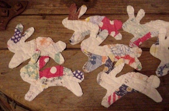Running Rabbit Appliques Vintage Old Patchwork Bunnies Feedsack Fabric  Primitive Embellishments itsyourcountry