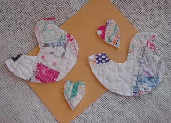 Quilted Dove Appliques Vintage Prim Folk Art Cutter Quilt Birds Patchwork Embellishments Upcycled Cutter Quilt itsyourcountry