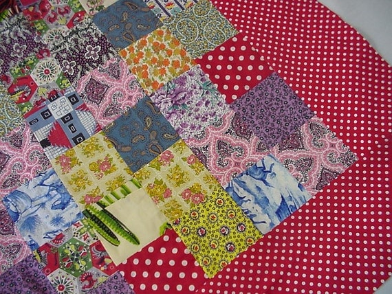 """Feedsack Quilt Top, Collectible 1950s Vintage Scrap Patchwork Baby Crib Doll Quilt Top, Table Topper 38""""x 32"""" Red itsyourcountry"""