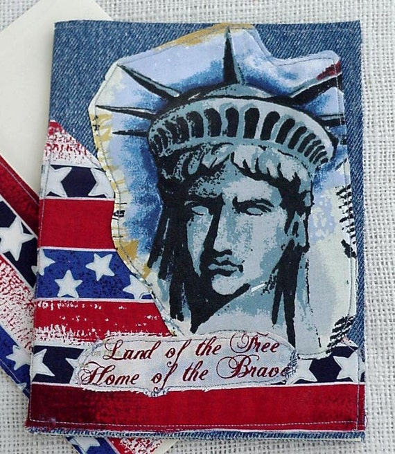 Patriotic Greeting Card Statue of Liberty Denim Everyday Blank Note Card Upcycled Fabric Collage Stationery itsyourcountry