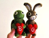 AdoraWools Tortoise and The Hare - Felted Bunny Rabbit and Turtle with Red Heart - Bridal Gift -Bride Groom - Wedding Cake Topper