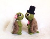 AdoraWools - Two Wedding Turtles - You Choose Colors to Match your Wedding