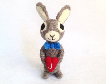 The Blue Bunny -  Needle Felted Toy - Blue Bow Tie - Red Little Heart-  www.AdoraWools.com