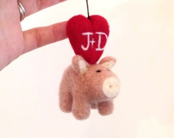 Little Piggy Ornament - Needle Felted Pig - Adorawools Needle Felted Gifts and Wedding Cake Topperss