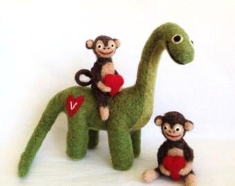 Twin Monkeys and The Dinosaur