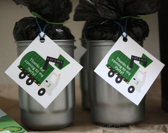 Trash Garbage Truck Birthday Party Favor Tag