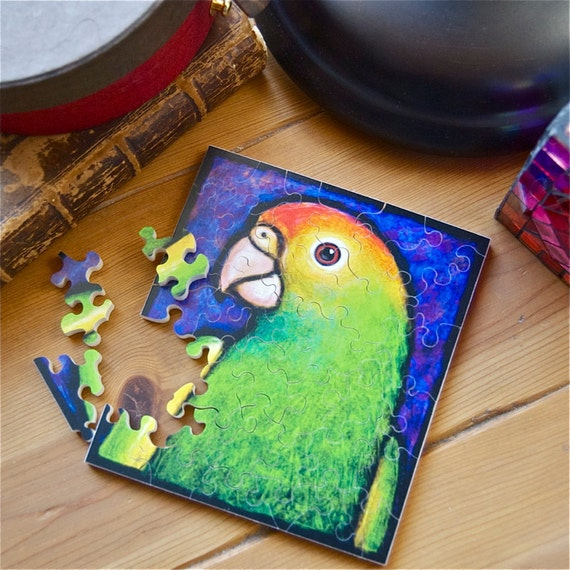 "Jigsaw Puzzle, Handmade, Wooden, 37 pieces - ""Parrot"" by Scot Spencer (2011)"