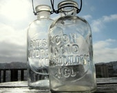 """vintage chemical glass bottle """"Con Acid Hydrochloric HCL"""" - vase with hanging wire"""