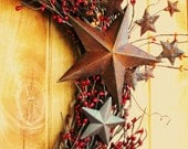 PRIMITIVE BARN RED with Splash of Rusty Orange-Star Berry Wreath-Outdoor Wreath-Scented Cinnamon Stix-Choose your Scent