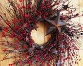 Primitive RUSTIC RED STAR Twig Wreath-Mini Wreath-Summer Holiday Wreath-Patriotic Decor-Scented Cinnamon Stick-Choose your Scent