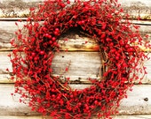 FIRE ENGINE RED- Classic Red Berry Wreath-Summer Door Wreath-Rustic Home Decor-Fall Wreaths-Scented Cinnamon Stix- Choose Scent and Ribbon