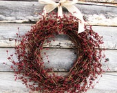 PRIMITIVE CRANBERRY RED-Scented Spiced Cranberry-Rustic Door Decor-Primitive Wreath-Rustic Home Decor-Summer Wreath-Choose Scent and Ribbon