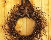 Primitive BROWN SUGAR- Rustic Rusty Star Wreath-Fall Door Wreaths-Primitive Country Decor-SCENTED Cinnamon Vanilla-Choose Scent and Ribbon