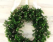 Large COUNTRY COTTAGE BOXWOOD Wreath-Artificial Boxwood Wreath-Spring Boxwood Wreath-Year Round Outdoor Wreath-Scented Cinnamon Vanilla
