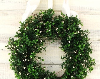COUNTRY COTTAGE BOXWOOD Wreath-Boxwood Wreath-Winter Wreath-Christmas Wreaths-Wedding Decorations-Outdoor Wreath-Scented Door Wreath-Gifts
