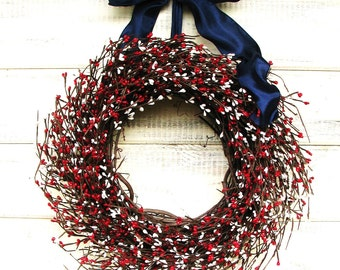 Summer Wreath-4th July Wreath-Patriotic Summer Home Decor-PATRIOTIC RED & WHITE Door Wreath-4th July Holiday Door Decor-Rustic Home Decor