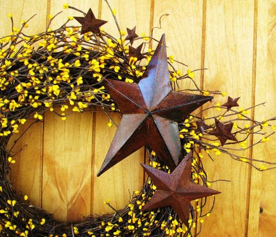 PRIMITVE MUSTARD YELLOW Berry Wreath-Rustic Star Door Wreath-Summer-Fall Wreath-Scented Apple Cinnamon-Choose Scent & Berries