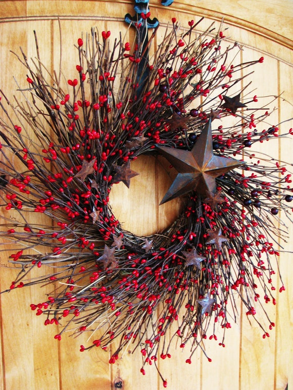 Primitive RUSTIC RED STAR Twig Wreath-Mini Wreath-Summer Holiday Wreath-Patriotic Decor-Scented Cinnamon Stick-Choose your Scent