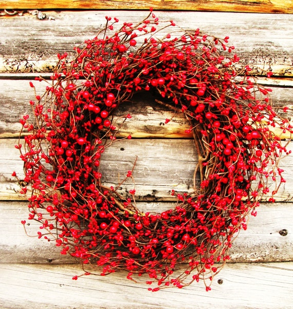 Winter Wreath-Valentines Wreath-RED BERRY Wreath-Holiday Wreath-Christmas Home Decor-Holiday Decor-SCENTED Wreath-4th of July Decor-Gifts