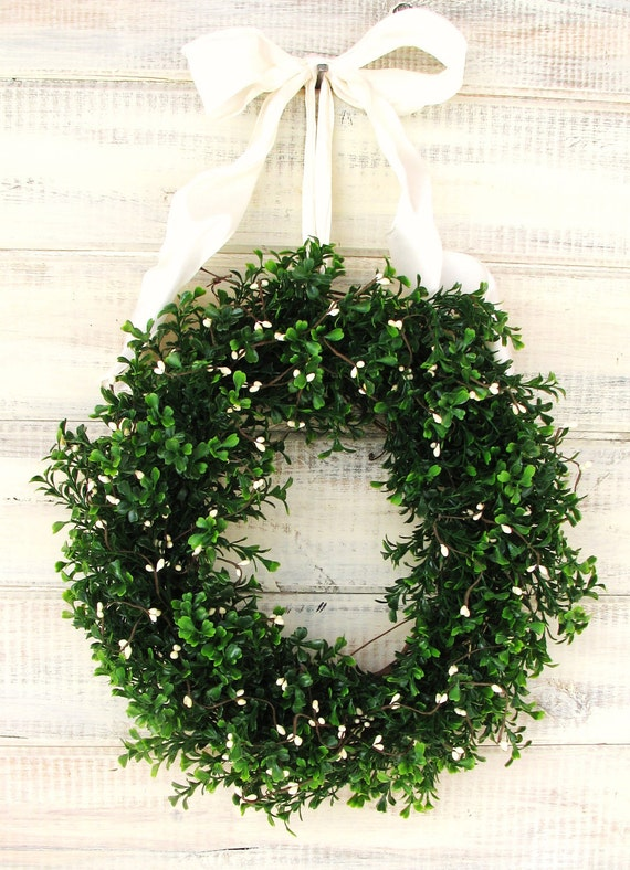COUNTRY COTTAGE BOXWOOD Wreath-Boxwood Wreath-Fall Wreath-Wedding Decorations-Year Round Outdoor Wreath-Scented Door Wreath-Custom Made