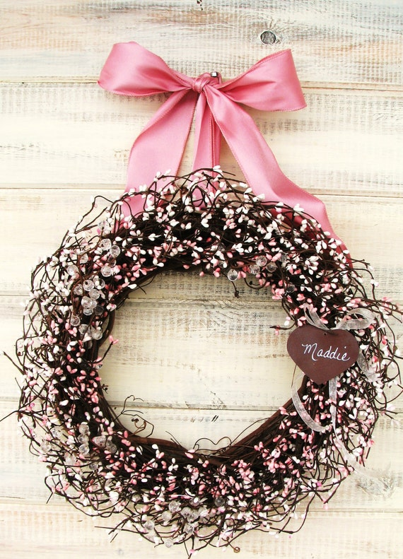 similar to pink baby shower wreath pink antique white wreath baby