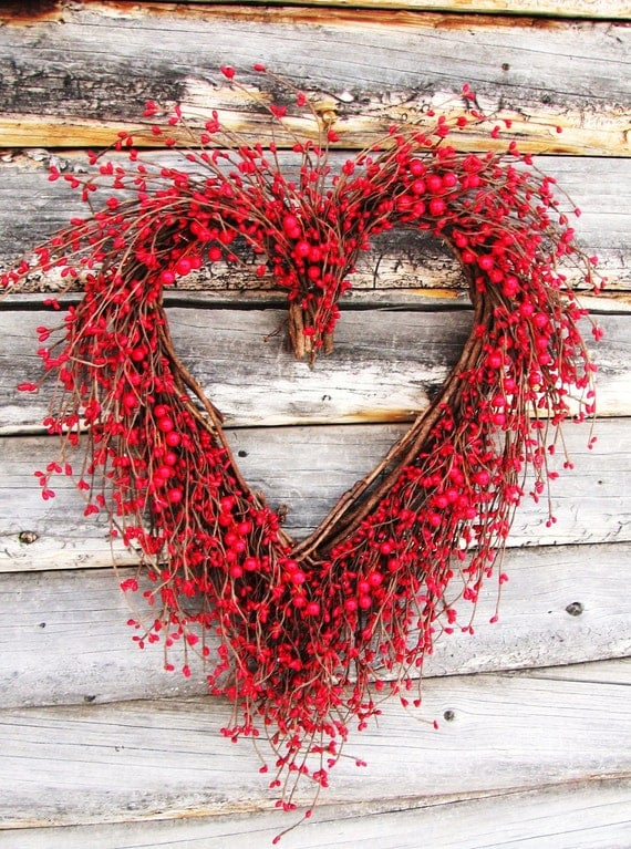 Items Similar To Rustic Woodland Wedding Heart Wreath Red