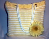 SPRING BAG SALE through 4/15 - 25% Off at Checkout - Crochet Tote Bag Yellow & White Stripe Crochet Tote Bag - Shopping/Travel /Beach Bag