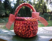 Pink and Brown Crochet Baskets Pink and Brown Home Decor Crochet Pink & Brown Mini Basket Small Brown Pink Basket Mini Crochet Basket Basket