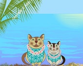 Kevin's Clever Cats Posing on Waikiki Beach