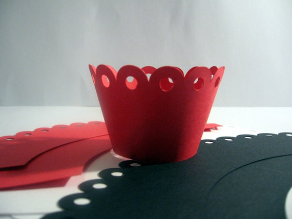 Red White and Black Cupcake Wrappers - Set of Six